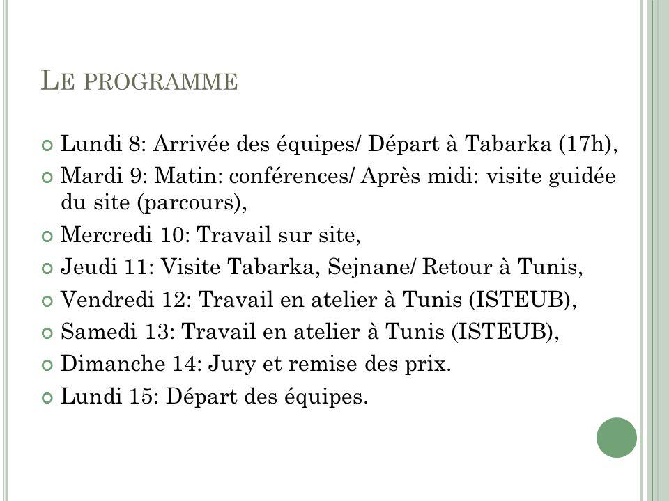 L E PROGRAMME Lundi 8: Arrivée des équipes/ Départ à Tabarka (17h), Mardi 9: Matin: conférences/ Après midi: visite guidée du site (parcours), Mercred