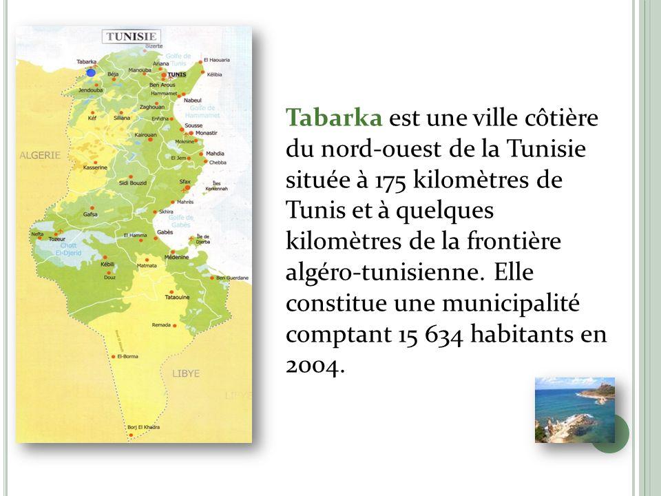 L E SITE Tabarka est une ville côtière du nord-ouest de la Tunisie située à 175 kilomètres de Tunis et à quelques kilomètres de la frontière algéro-tu