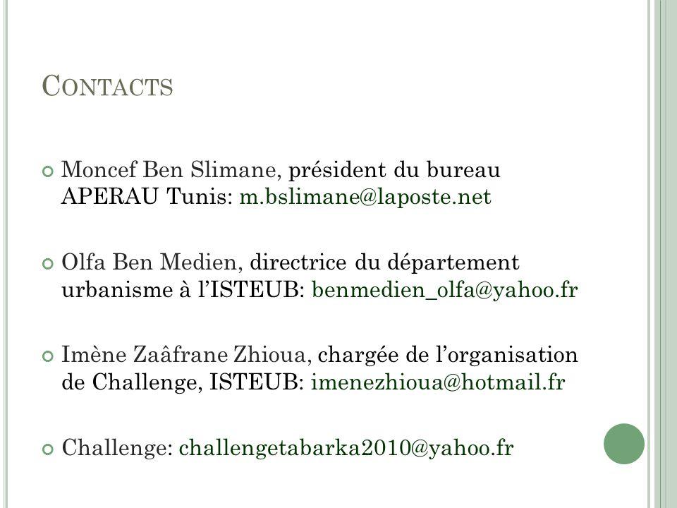 C ONTACTS Moncef Ben Slimane, président du bureau APERAU Tunis: m.bslimane@laposte.net Olfa Ben Medien, directrice du département urbanisme à lISTEUB: