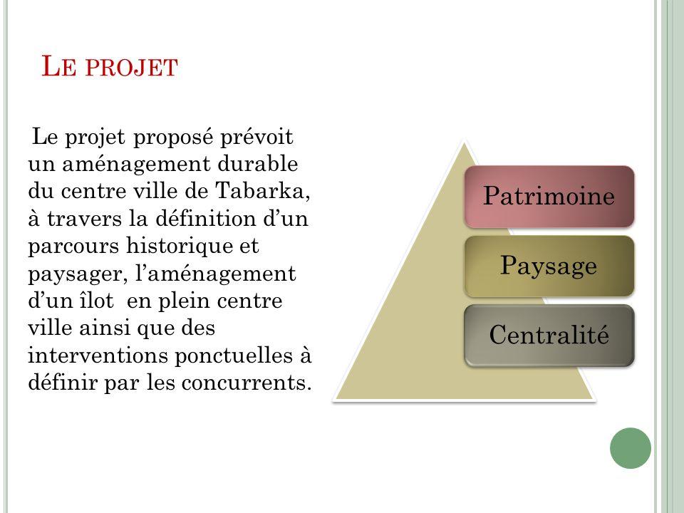 L E PROJET Le projet proposé prévoit un aménagement durable du centre ville de Tabarka, à travers la définition dun parcours historique et paysager, l