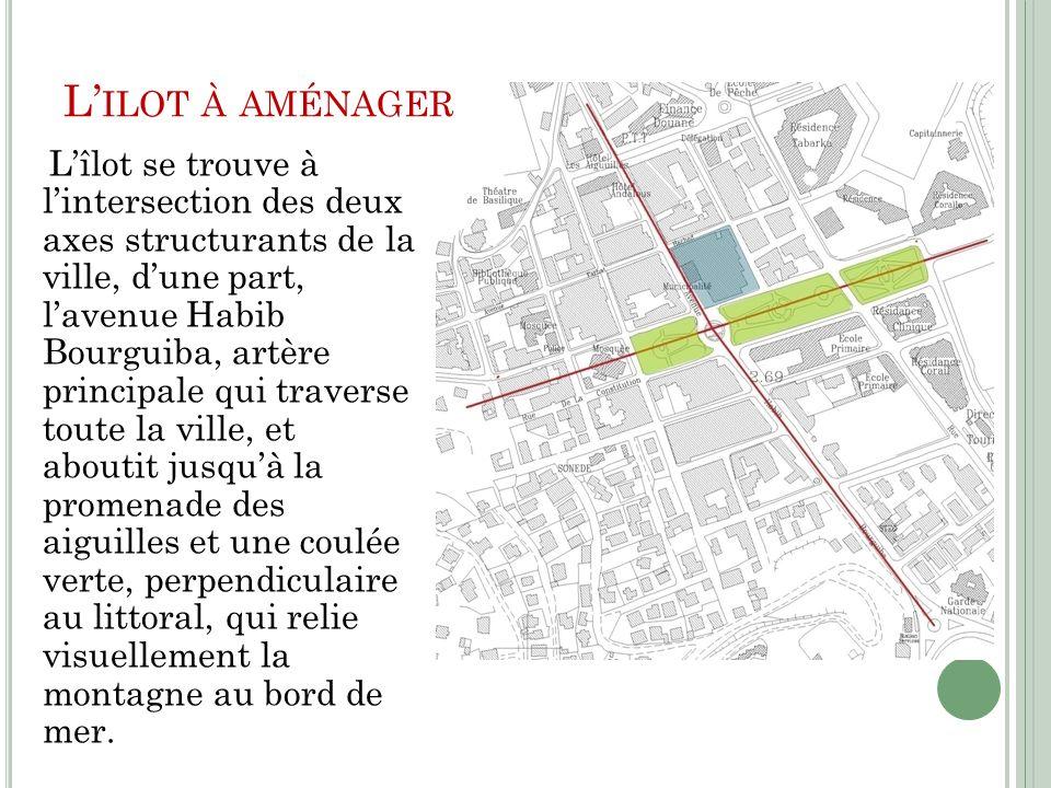 L ILOT À AMÉNAGER Lîlot se trouve à lintersection des deux axes structurants de la ville, dune part, lavenue Habib Bourguiba, artère principale qui tr