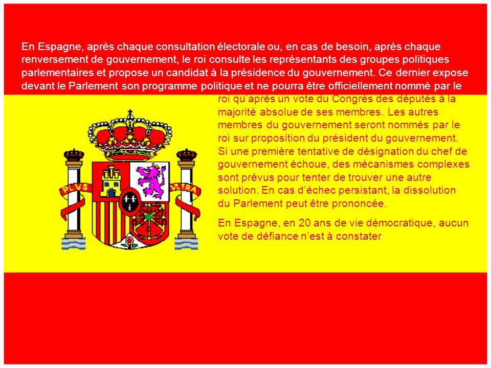 2) LEspagne Depuis 1978, lEspagne sorganise politiquement daprès les titres de la Constituiton espagnole de 1978 dans laquelle sétablit un régime de monarchie constitutionnelle et démocratique et la pluralité des partis politiques.
