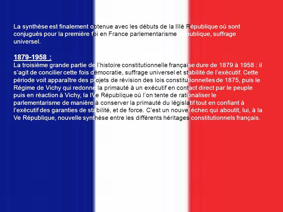 ASPECTS HISTORIQUES 1) La France Lhistoire constitutionnelle de la France peut être divisée en trois grandes parties : 1789- 1848,1848-1879 et 1879-1958.