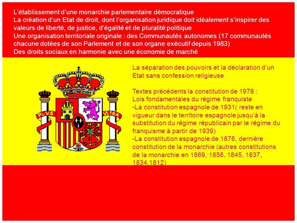 2) LEspagne La constitution actuellement utilisée en Espagne date de 1978.