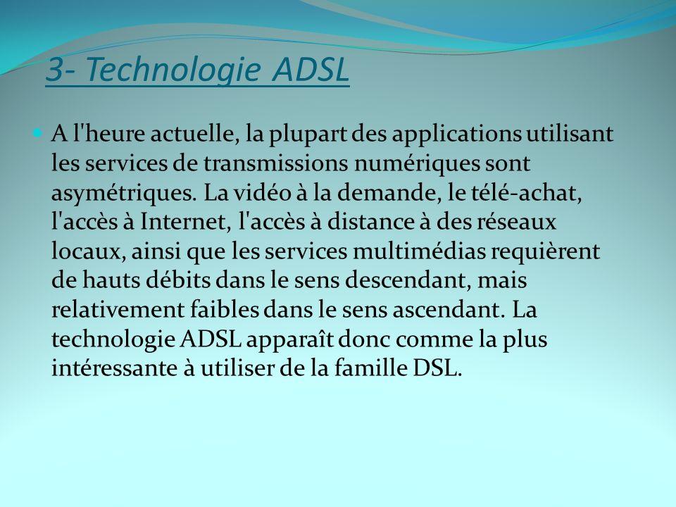 A l'heure actuelle, la plupart des applications utilisant les services de transmissions numériques sont asymétriques. La vidéo à la demande, le télé-a
