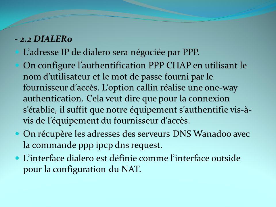 - 2.2 DIALER0 Ladresse IP de dialer0 sera négociée par PPP. On configure lauthentification PPP CHAP en utilisant le nom dutilisateur et le mot de pass