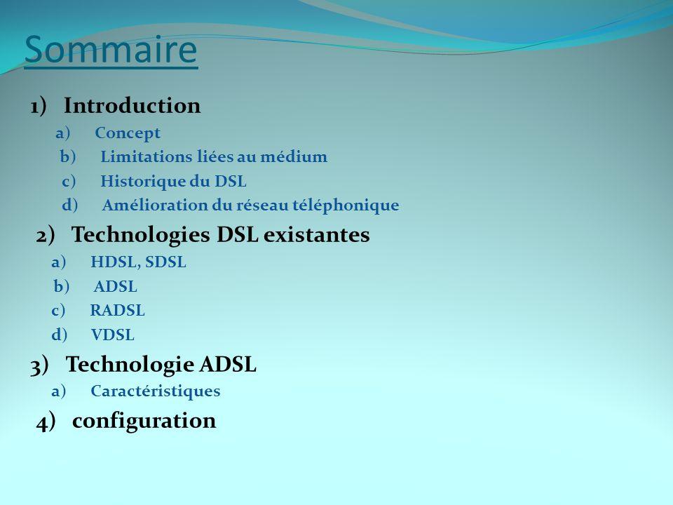 Sommaire 1) Introduction a) Concept b) Limitations liées au médium c) Historique du DSL d) Amélioration du réseau téléphonique 2) Technologies DSL exi