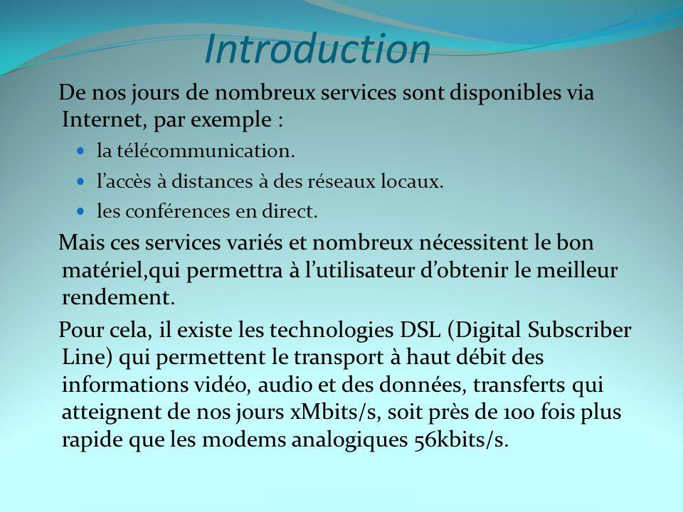 Technologies DSL existantes c) RADSL Avec RADSL (Rate Adaptative DSL), la vitesse de la transmission entre deux modems est fixée de manière automatique et dynamique, selon la qualité de la liaison.