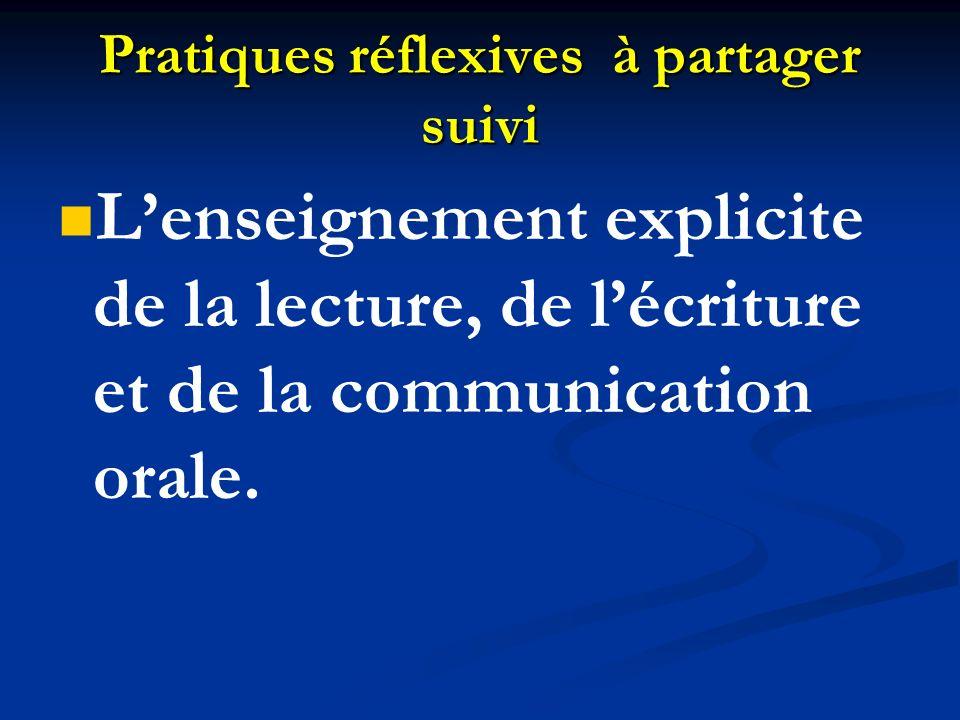 Pratiques réflexives à partager suivi Lenseignement explicite de la lecture, de lécriture et de la communication orale.