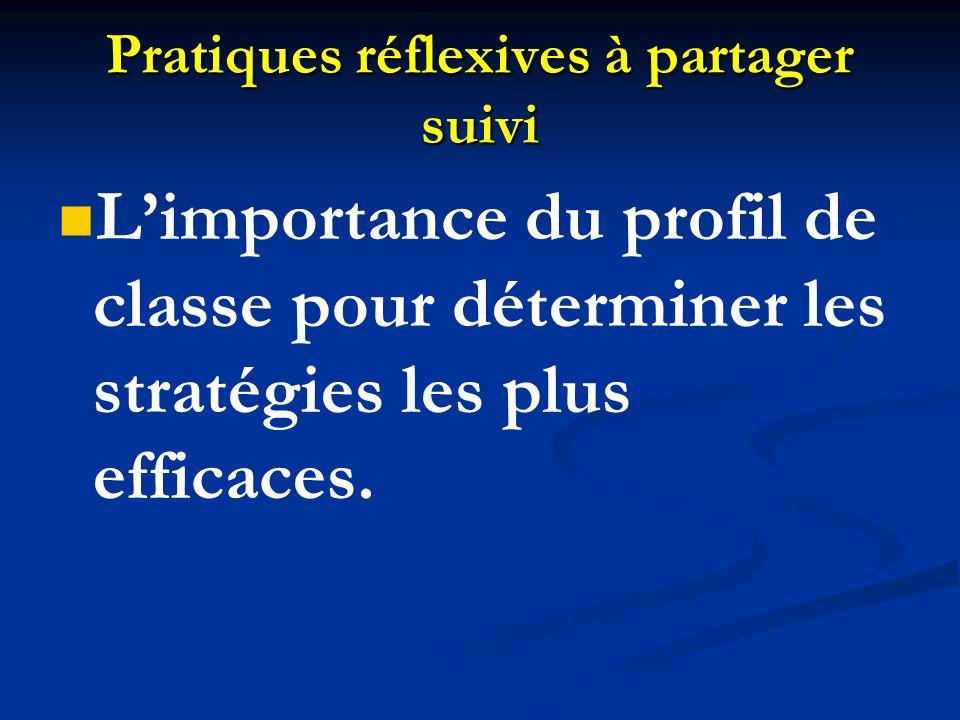 Pratiques réflexives à partager suivi Limportance du profil de classe pour déterminer les stratégies les plus efficaces.