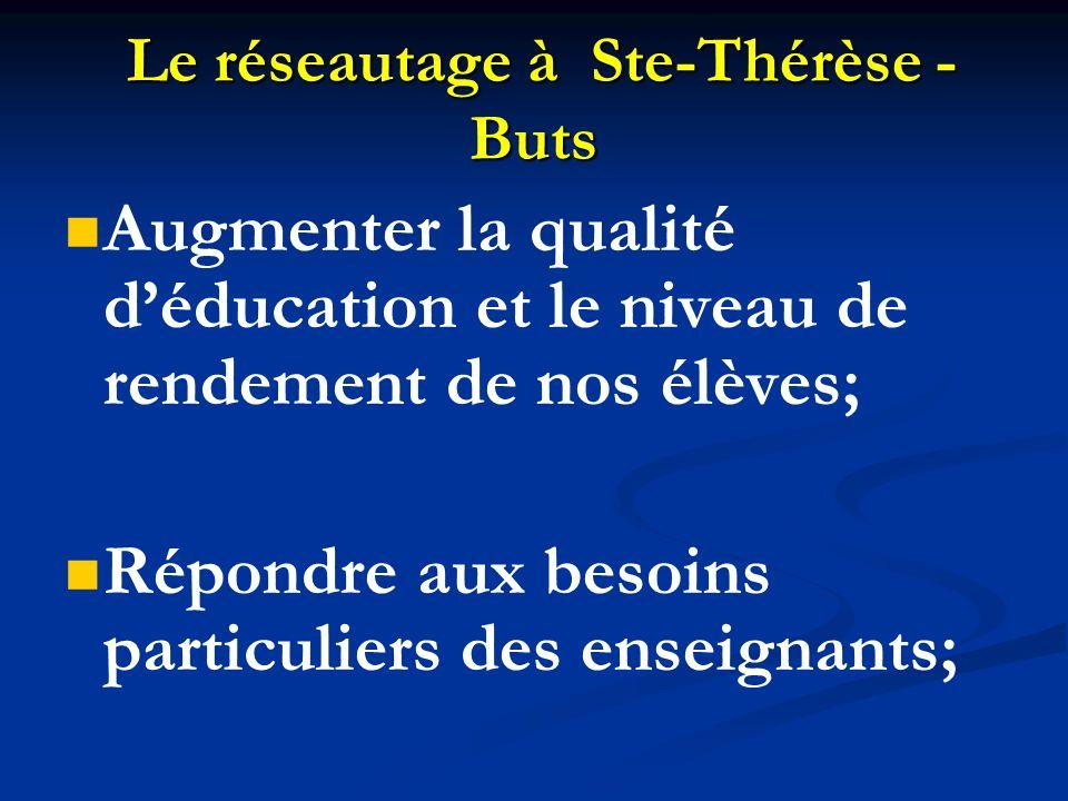 Le réseautage à Ste-Thérèse - Buts Le réseautage à Ste-Thérèse - Buts Augmenter la qualité déducation et le niveau de rendement de nos élèves; Répondr