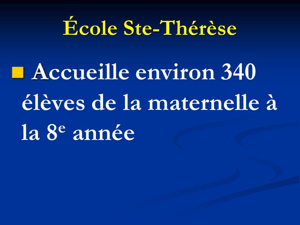 École Ste-Thérèse A Accueille environ 340 élèves de la maternelle à la 8 e année