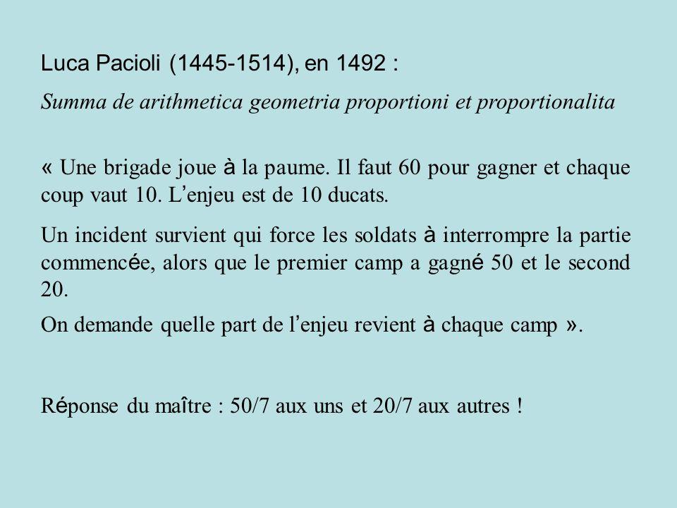 Luca Pacioli (1445-1514), en 1492 : Summa de arithmetica geometria proportioni et proportionalita « Une brigade joue à la paume. Il faut 60 pour gagne