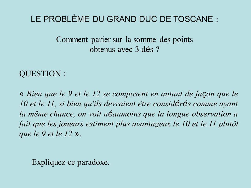 LE PROBLÈME DU GRAND DUC DE TOSCANE : Comment parier sur la somme des points obtenus avec 3 d é s ? QUESTION : « Bien que le 9 et le 12 se composent e