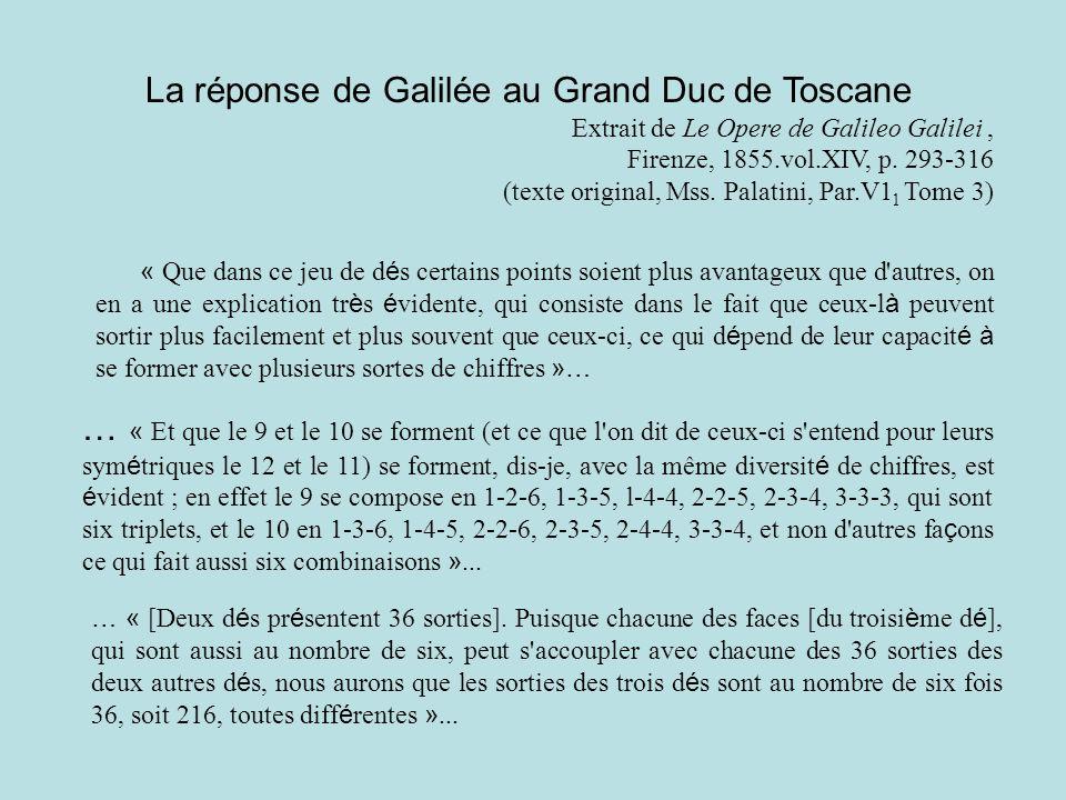 La réponse de Galilée au Grand Duc de Toscane Extrait de Le Opere de Galileo Galilei, Firenze, 1855.vol.XIV, p. 293-316 (texte original, Mss. Palatini