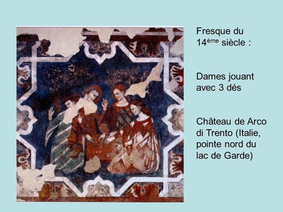 Fresque du 14 ème siècle : Dames jouant avec 3 dés Château de Arco di Trento (Italie, pointe nord du lac de Garde)