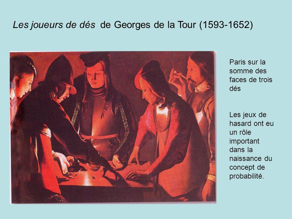 Les joueurs de dés de Georges de la Tour (1593-1652) Paris sur la somme des faces de trois dés Les jeux de hasard ont eu un rôle important dans la nai