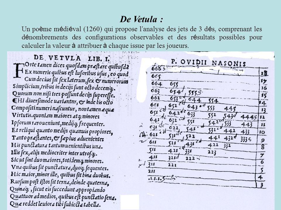 De Vetula : Un po è me m é di é val (1260) qui propose l analyse des jets de 3 d é s, comprenant les d é nombrements des configurations observables et