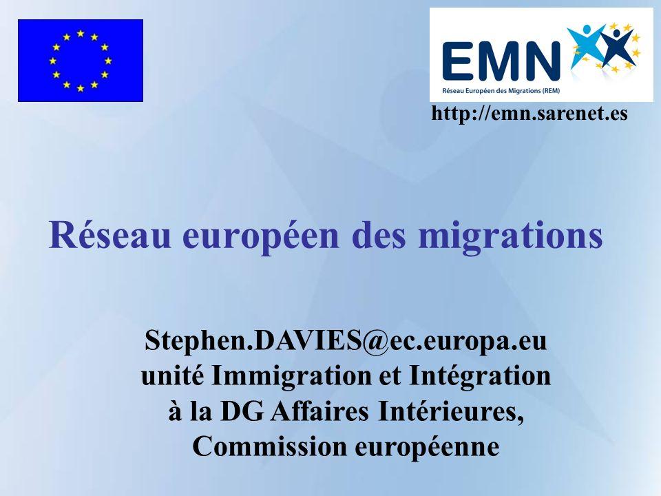 Réseau européen des migrations http://emn.sarenet.es Stephen.DAVIES@ec.europa.eu unité Immigration et Intégration à la DG Affaires Intérieures, Commission européenne