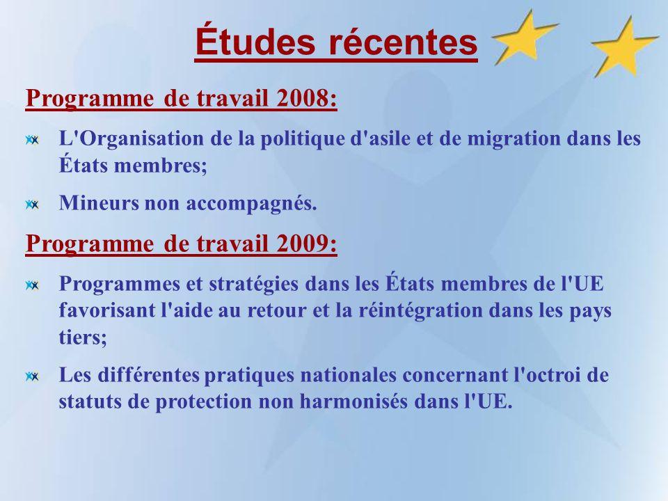 Études récentes Programme de travail 2008: L Organisation de la politique d asile et de migration dans les États membres; Mineurs non accompagnés.