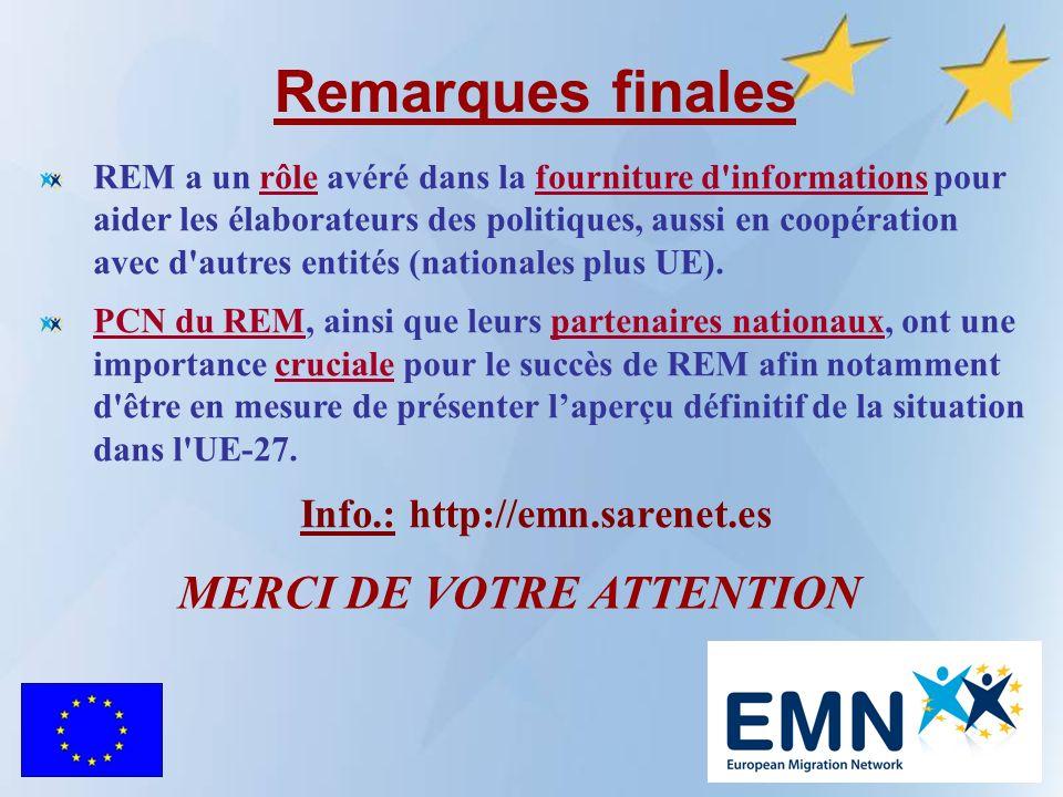 Remarques finales REM a un rôle avéré dans la fourniture d informations pour aider les élaborateurs des politiques, aussi en coopération avec d autres entités (nationales plus UE).