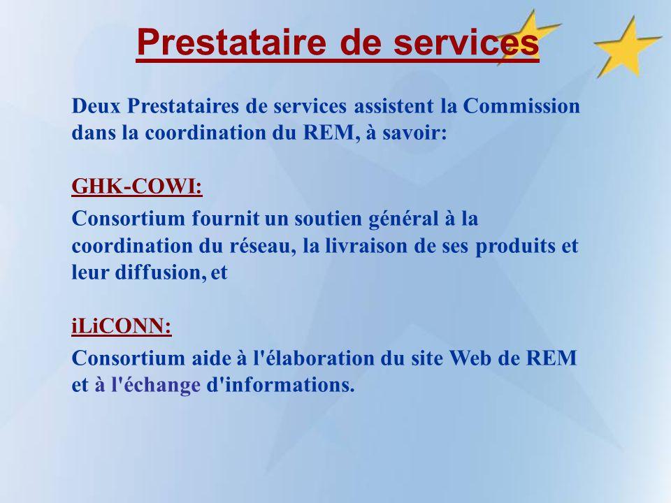 Prestataire de services Deux Prestataires de services assistent la Commission dans la coordination du REM, à savoir: GHK-COWI: Consortium fournit un soutien général à la coordination du réseau, la livraison de ses produits et leur diffusion, et iLiCONN: Consortium aide à l élaboration du site Web de REM et à l échange d informations.