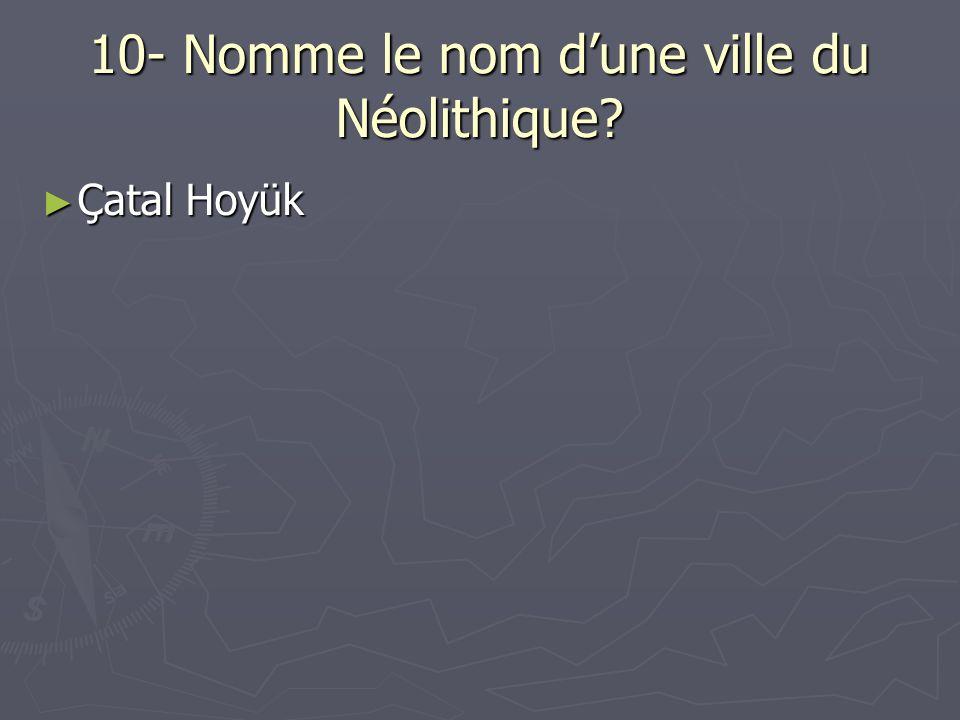 10- Nomme le nom dune ville du Néolithique? Çatal Hoyük Çatal Hoyük
