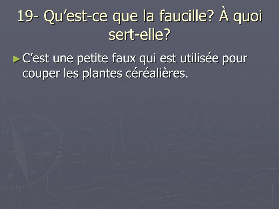 19- Quest-ce que la faucille? À quoi sert-elle? Cest une petite faux qui est utilisée pour couper les plantes céréalières. Cest une petite faux qui es