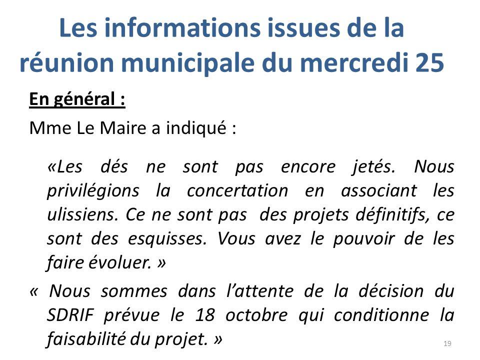 Les informations issues de la réunion municipale du mercredi 25 En général : Mme Le Maire a indiqué : «Les dés ne sont pas encore jetés.