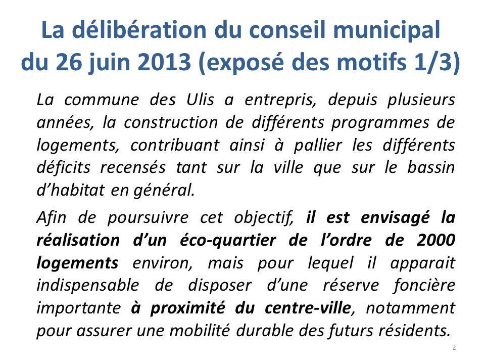La délibération du conseil municipal du 26 juin 2013 (exposé des motifs 2/3) Le centre commercial Ulis 2, situé en milieu urbain, est actuellement contraint dans son développement au regard des faibles possibilités dévolutions.