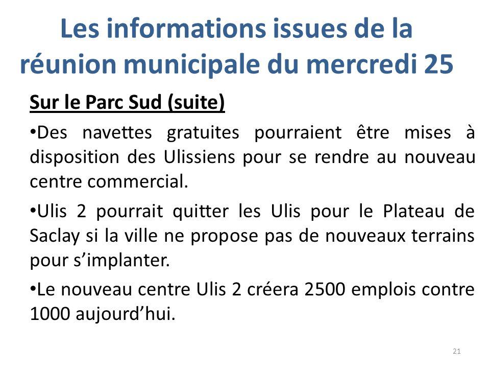 Les informations issues de la réunion municipale du mercredi 25 Sur le Parc Sud (suite) Des navettes gratuites pourraient être mises à disposition des Ulissiens pour se rendre au nouveau centre commercial.