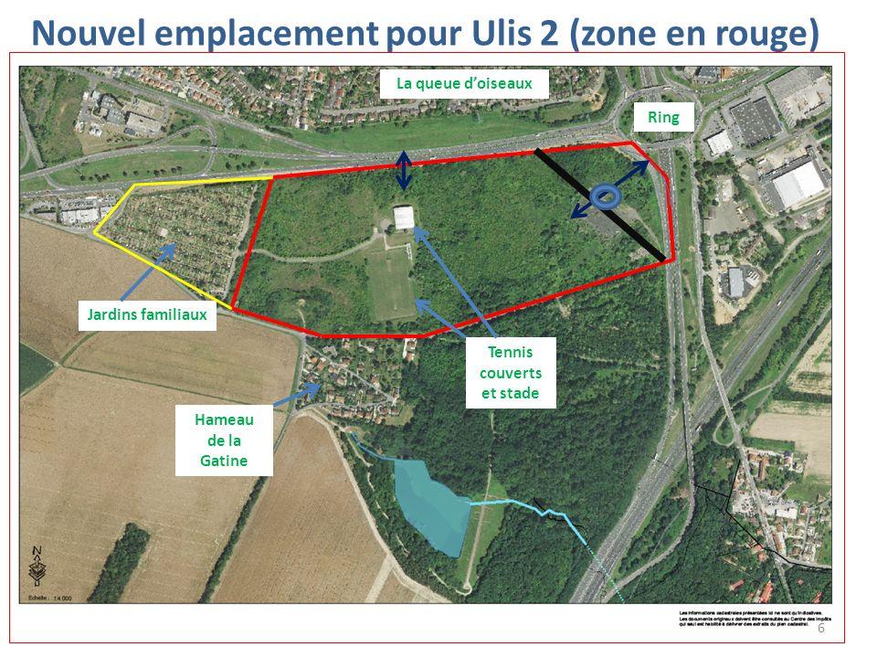 Nouvel emplacement pour Ulis 2 (zone en rouge) Tennis couverts et stade Jardins familiaux Ring Hameau de la Gatine La queue doiseaux 6