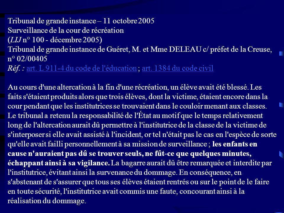 Tribunal de grande instance – 11 octobre 2005 Surveillance de la cour de récréation (LIJ n° 100 - décembre 2005) Tribunal de grande instance de Guéret