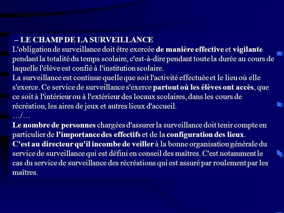 – LE CHAMP DE LA SURVEILLANCE L'obligation de surveillance doit être exercée de manière effective et vigilante pendant la totalité du temps scolaire,