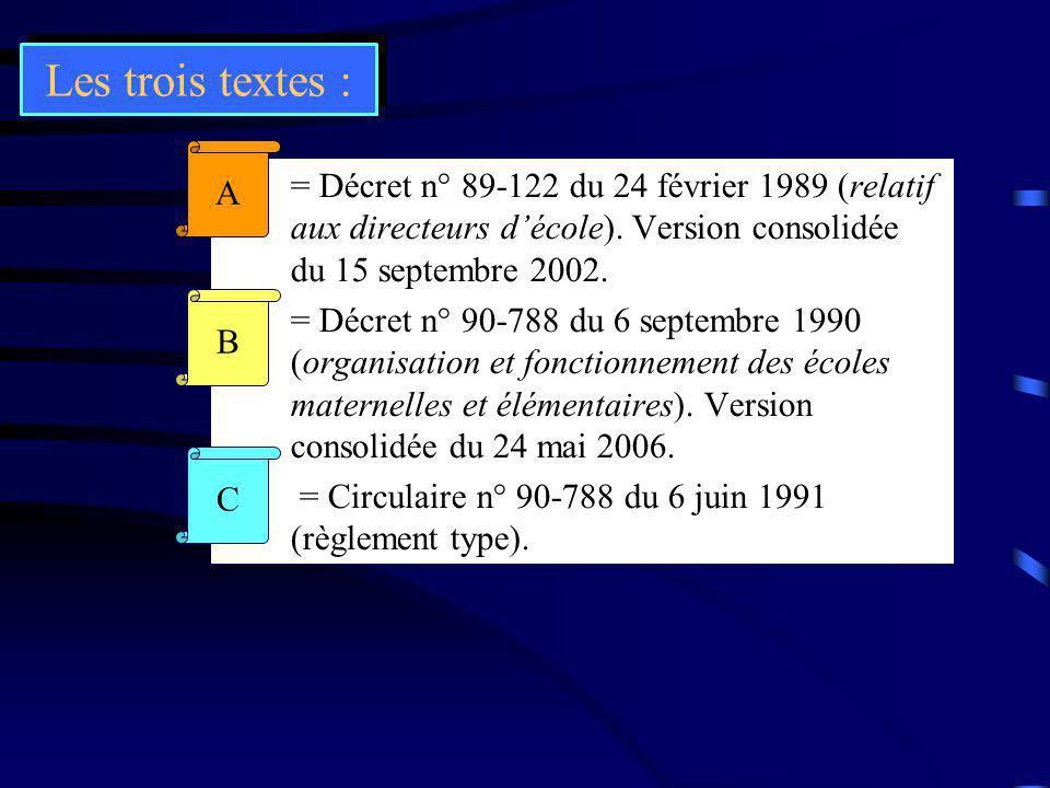 Les trois textes : A.= Décret n° 89-122 du 24 février 1989 (relatif aux directeurs décole). Version consolidée du 15 septembre 2002. B.= Décret n° 90-