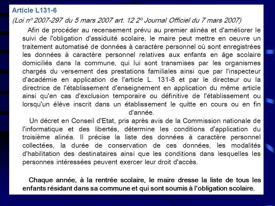 Article L131-6 (Loi nº 2007-297 du 5 mars 2007 art. 12 2º Journal Officiel du 7 mars 2007) Afin de procéder au recensement prévu au premier alinéa et