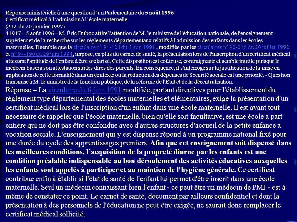 Réponse ministérielle à une question dun Parlementaire du 5 août 1996 Certificat médical à ladmission à lécole maternelle (J.O. du 20 janvier 1997) 41