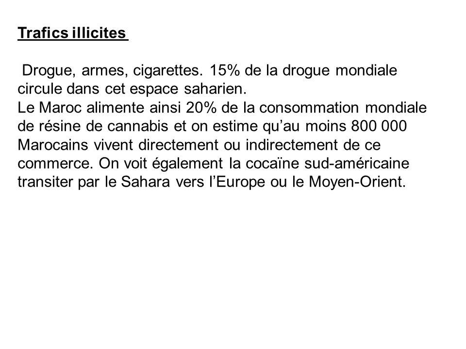 Trafics illicites Drogue, armes, cigarettes. 15% de la drogue mondiale circule dans cet espace saharien. Le Maroc alimente ainsi 20% de la consommatio