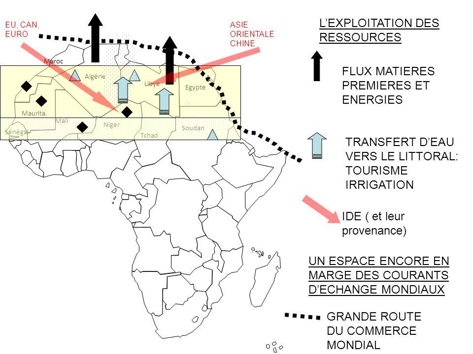 1000 km Algérie Libye Niger Egypte Maroc Soudan Mali Maurita. Tchad Sénégal LEXPLOITATION DES RESSOURCES FLUX MATIERES PREMIERES ET ENERGIES TRANSFERT