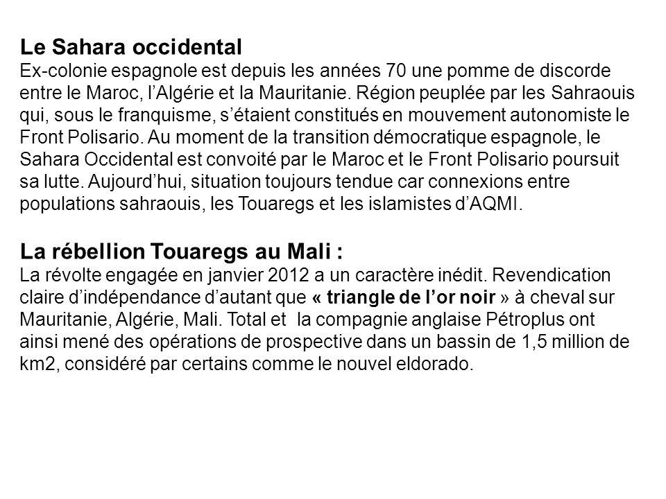 Le Sahara occidental Ex-colonie espagnole est depuis les années 70 une pomme de discorde entre le Maroc, lAlgérie et la Mauritanie. Région peuplée par