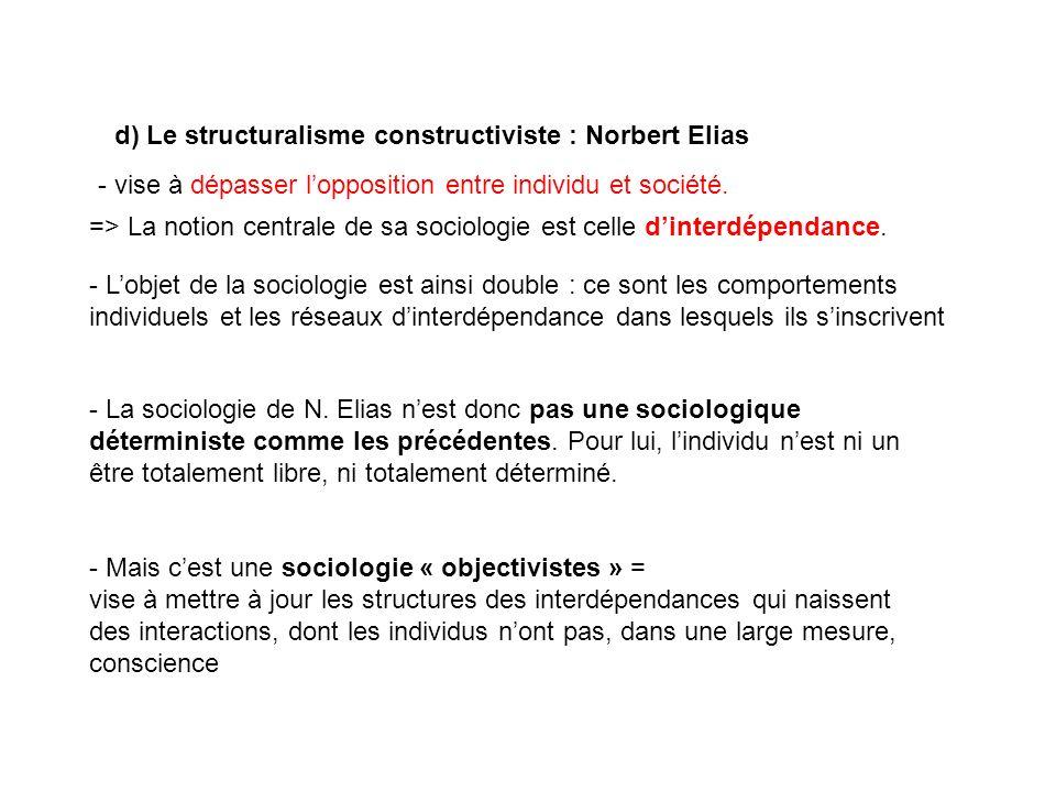 d) Le structuralisme constructiviste : Norbert Elias => La notion centrale de sa sociologie est celle dinterdépendance. - Lobjet de la sociologie est