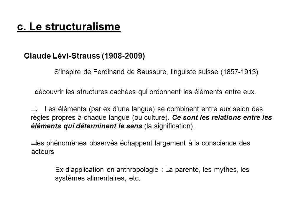c. Le structuralisme Claude Lévi-Strauss (1908-2009) Sinspire de Ferdinand de Saussure, linguiste suisse (1857-1913) découvrir les structures cachées