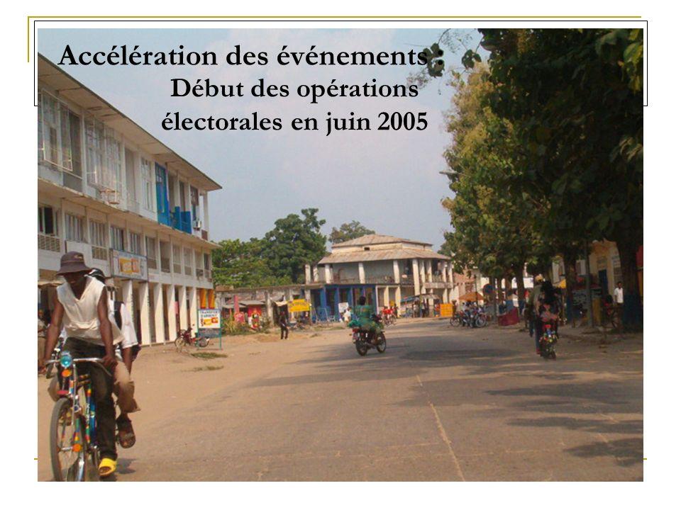 Accélération des événements : Début des opérations électorales en juin 2005