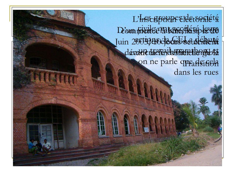 Linscription électorale a commencé à Kinshasa le 20 Juin 2005, 10 jours seulement avant la fin officielle de la Transition Dun jour à lautre, le spectre des élections et de la démocracie devint tangible Les groupes de société civile ont accéléré leurs actions, la CEI a débuté un travail-marathon, et on ne parle que de cela dans les rues