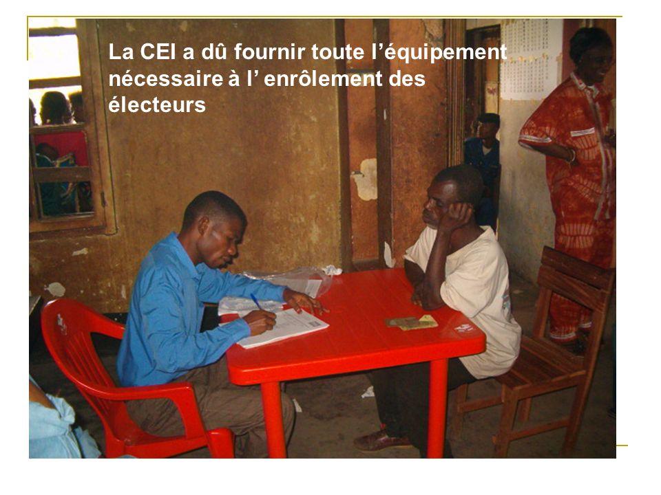 La CEI a dû fournir toute léquipement nécessaire à l enrôlement des électeurs