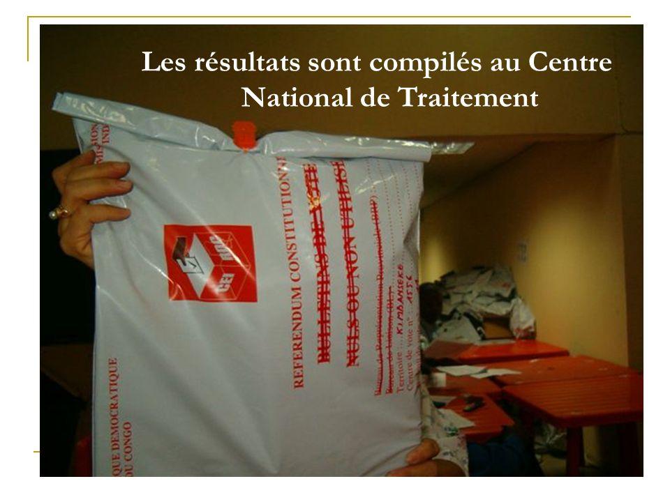 Les résultats sont compilés au Centre National de Traitement