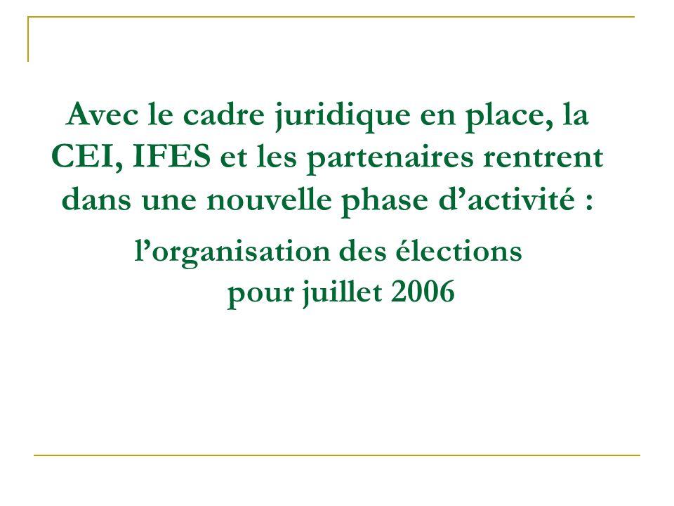 Avec le cadre juridique en place, la CEI, IFES et les partenaires rentrent dans une nouvelle phase dactivité : lorganisation des élections pour juille
