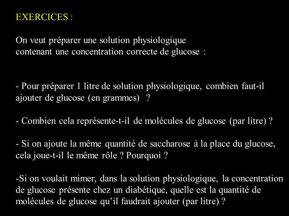 EXERCICES : On veut préparer une solution physiologique contenant une concentration correcte de glucose : - Pour préparer 1 litre de solution physiolo