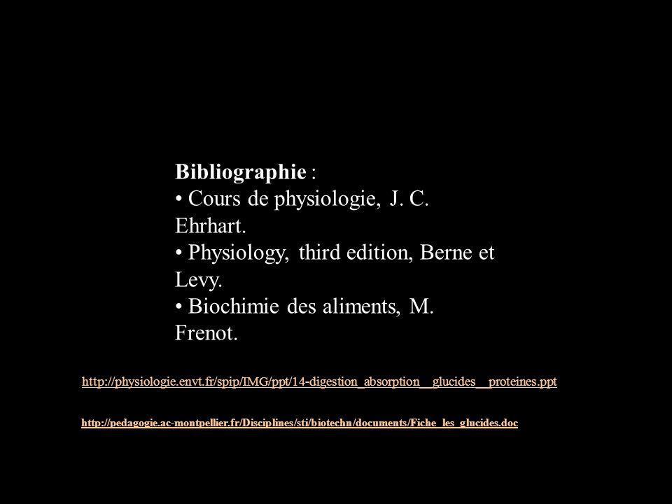 Bibliographie : Cours de physiologie, J. C. Ehrhart. Physiology, third edition, Berne et Levy. Biochimie des aliments, M. Frenot. http://physiologie.e