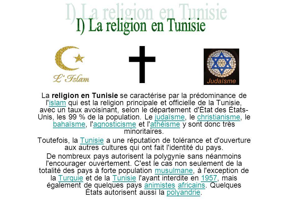 La religion en Tunisie se caractérise par la prédominance de l'islam qui est la religion principale et officielle de la Tunisie, avec un taux avoisina